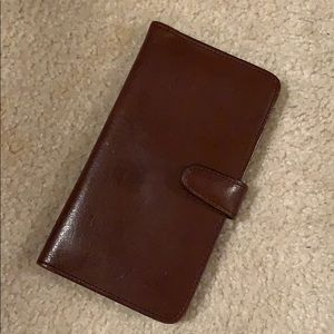 Coach brown Leather Check Book Wallet Vintage